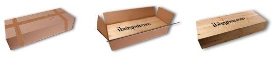 Wooden gift box, inside a white cardboard box
