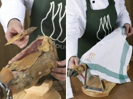 Sequence showing how to cover a jamon to store it